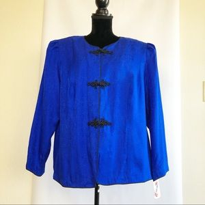 NWT Maggy London Silk Jacket Royal Blue Size 20